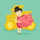 Business woman holding big piggy bank. Stock Photos