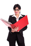 Business woman holding a big red file Royalty Free Stock Photo
