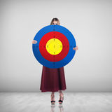 Business woman holding big target Royalty Free Stock Photo