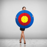 Business woman holding big target. Stock Images