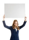 Business Woman holding a billboard Royalty Free Stock Image