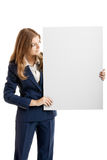 Business Woman holding a billboard stock photos