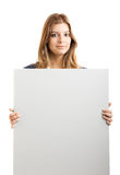 Business Woman holding a billboard Royalty Free Stock Images