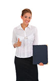 Business Woman Holding Binder Isolated Stock Image