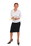 Business Woman Holding Binder Isolated Royalty Free Stock Images