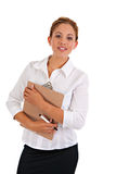 Business Woman Holding Binder Isolated Stock Images