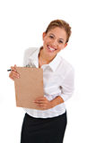 Business Woman Holding Binder Isolated Royalty Free Stock Photography