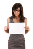 Business woman holding blank board Stock Image