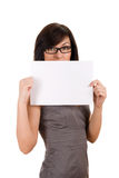 Business woman holding blank board Stock Photography
