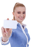 Business woman holding blank business card Royalty Free Stock Photo