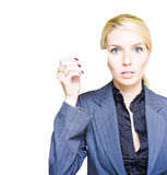 Business Woman Holding A Blank Business Card Royalty Free Stock Photo