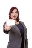 Business woman holding a blank business card. Royalty Free Stock Photos