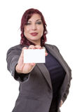 Business woman holding a blank business card. Stock Photo