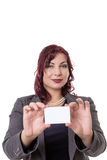 Business woman holding a blank business card. Stock Photography