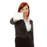 Business woman holding a blank card Stock Photo