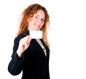 Business woman holding a blank card Royalty Free Stock Images