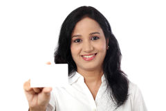 Business Woman holding a blank card Royalty Free Stock Photos