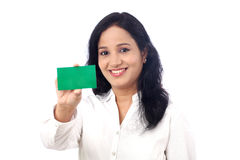 Business Woman holding a blank card against white Stock Photo