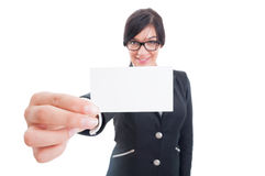 Business woman holding blank card close the camera Royalty Free Stock Images