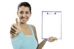 Business woman holding blank clipboard Stock Photos