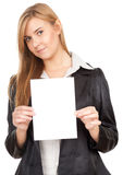 Business woman holding blank paper Royalty Free Stock Photos