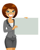 Business woman. Holding a blank placard Stock Photography