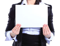 Business woman holding blank placard. Stock Images