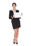 Business woman holding blank placard Stock Photography