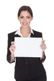 Business woman holding blank placard Royalty Free Stock Photography