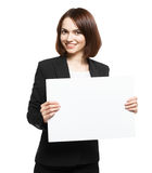 Business Woman Holding Blank Placard Royalty Free Stock Image