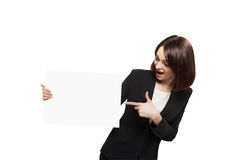 Business Woman Holding Blank Placard Stock Images