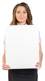 Business woman holding blank poster Stock Images