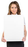 Business woman holding blank poster Royalty Free Stock Image