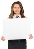 Business woman holding blank poster Royalty Free Stock Images