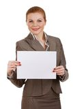 Business woman holding blank sign Stock Photo
