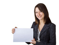 Business woman holding a blank sign Stock Photos