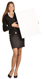 Business woman holding a blank white board. Royalty Free Stock Photo