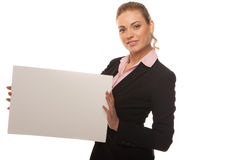 Business woman holding blank white card Royalty Free Stock Images