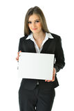 Business Woman Holding Board. Business woman holding a blank white board that can be filled in with metaphors and concepts Royalty Free Stock Photos