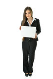 Business Woman Holding Board. Business woman holding a blank white board that can be filled in with metaphors and concepts Stock Photography