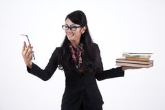 Business Woman Holding Books and Digital Tablet Stock Photos