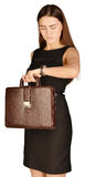 Business woman holding a briefcase in his hand and Stock Photography
