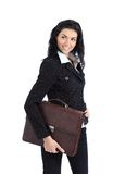 Business woman holding a briefcase standing Stock Images