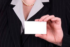 Business woman holding busines Stock Images