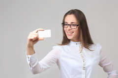 Business woman holding business card Royalty Free Stock Photo