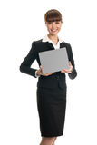 Business woman holding a card Royalty Free Stock Image