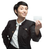 Business woman holding card Royalty Free Stock Photos