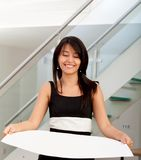 Business woman holding a cardboard Stock Photos