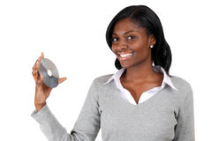 Business woman holding a cd Stock Images