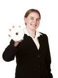 Business woman holding cd or dvd Stock Image